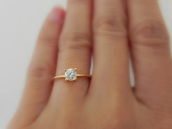 Gold Cz Solitaire Ring Diamond Ring Cubic Zirconia Engagement