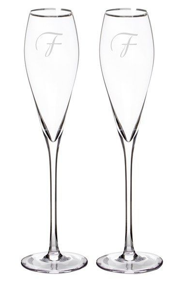 Cathy's Concepts Personalized Silver Rim Champagne Flutes (Set of 2)