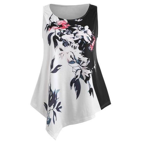 ad26824331b5fc Tank Top Women Summer 2018 Plus Size White 5XL Vest Print Floral O-neck Sexy