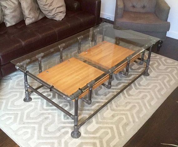 industrial iron pipe coffee table w glass top and reclaimed wood shelves industrial style. Black Bedroom Furniture Sets. Home Design Ideas