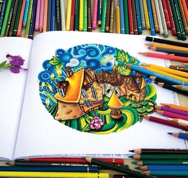 Color Pencil Art Magic City Adult Coloring Books Magical Christmas Faber Castell Colour Prismacolor Australia