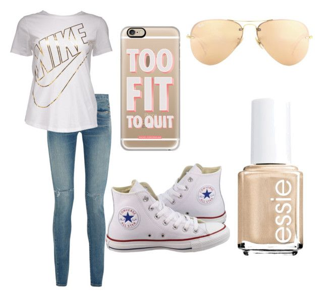 """Untitled #6"" by feebeejeen ❤ liked on Polyvore featuring Yves Saint Laurent, NIKE, Casetify, Converse, Ray-Ban and Essie"