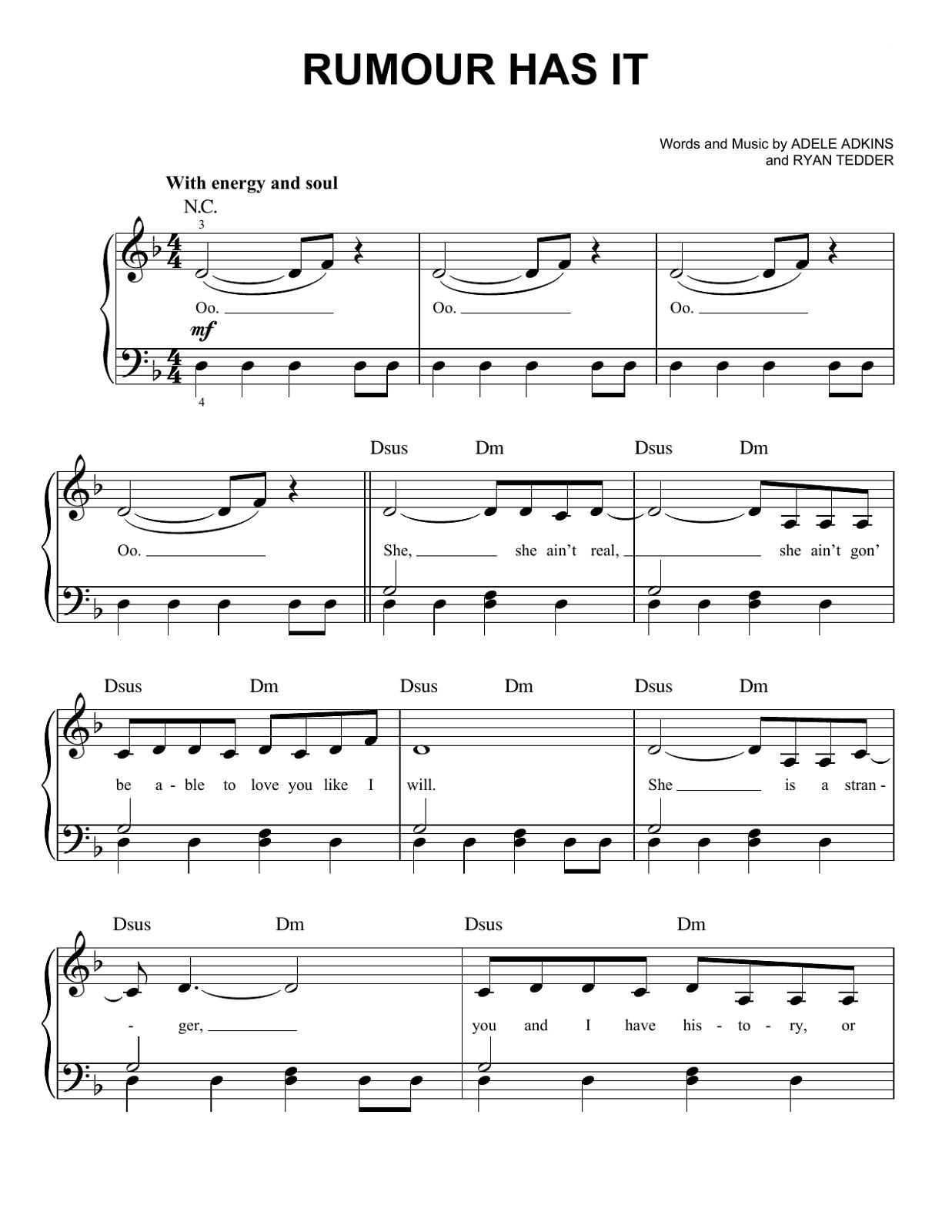 Adele Piano Sheets Music Printable