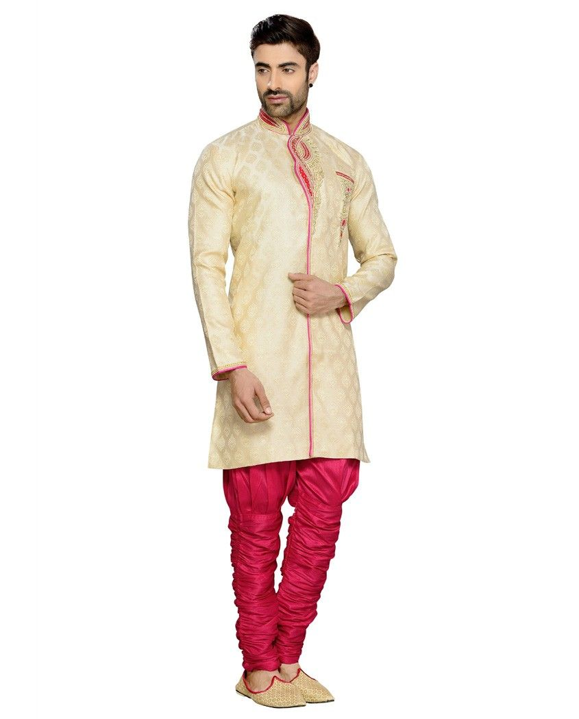 Beige and pink sherwani with zari stone and resham embellishment