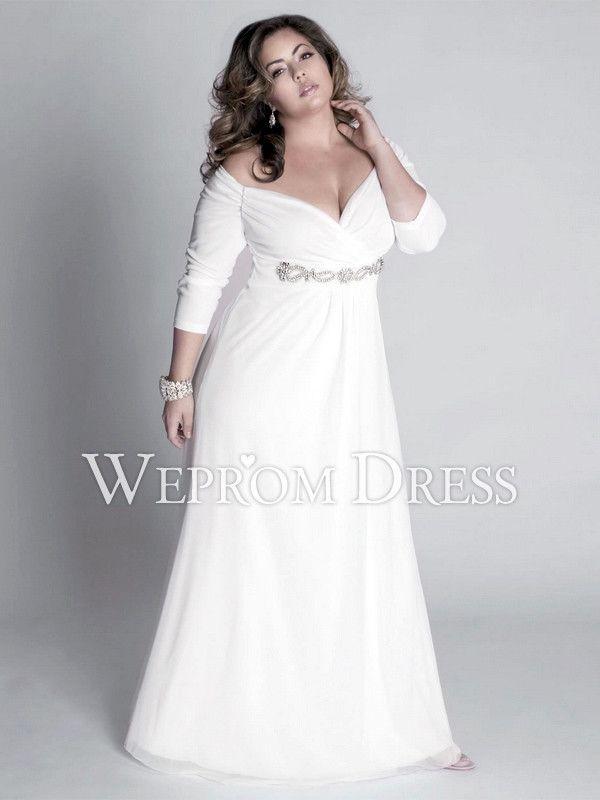 Sassy Plus Size Wrap Floor Length Empire White Chiffon Beach Wedding