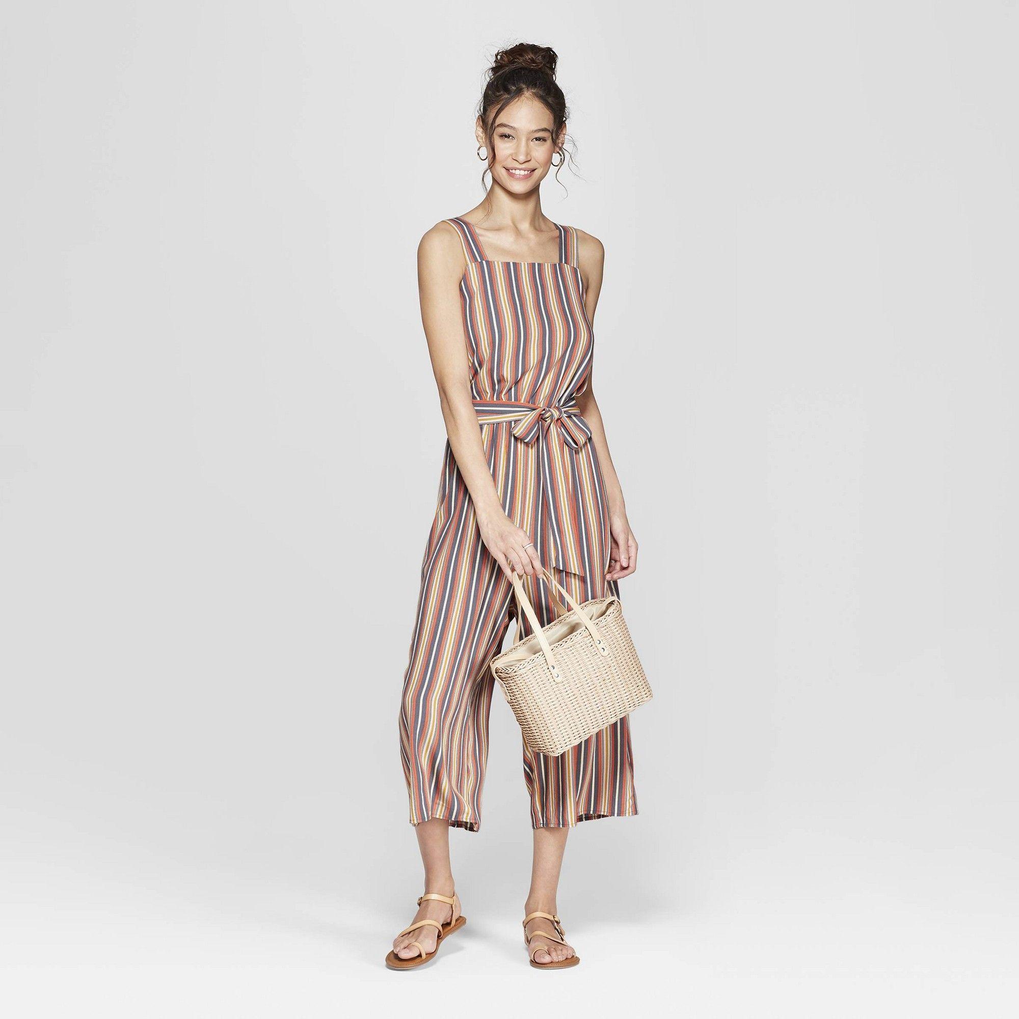 5f16019ad6 Women's Striped Strappy Square Neck Waist Tie Jumpsuit - Xhilaration Orange  Xxl