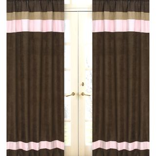 Pink And Chocolate 84 Inch Curtain Panel Pair