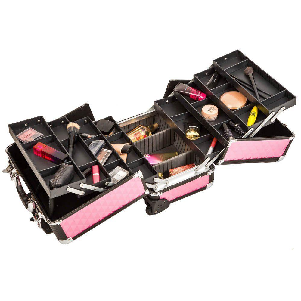2a33a1abb TecTake Maleta aluminio para cosméticos Maletín para maquillaje joyería  Trolley con Varias Divisiones con ruedas rosa: Amazon.es: Salud y cuidado  personal