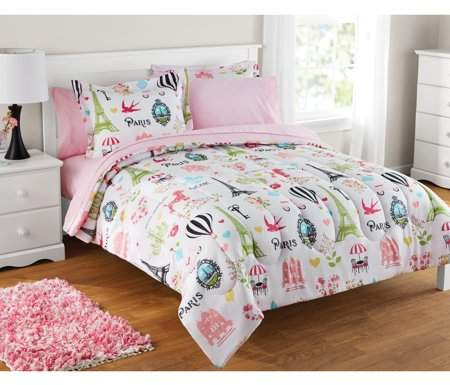 Mainstays Kids Paris Bed In A Bag 1 Each Walmart Com Paris Bedding Kids Bedding Sets Paris Comforter