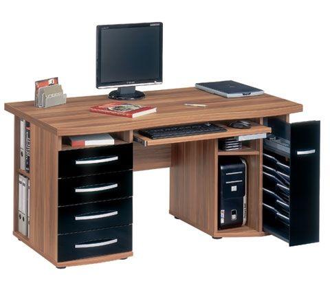 E2 Surfline 450 Computer Desk In Walnut And Black
