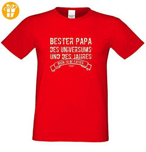 Geburtstagsgeschenk Papa Vater :-: Herren T-Shirt als Geschenkidee :-: Bester Papa des Universums :-: Übergrößen 3XL 4XL 5XL :-: Geschenk zum Geburtstag für Papa Farbe: rot Gr: XL (*Partner-Link)