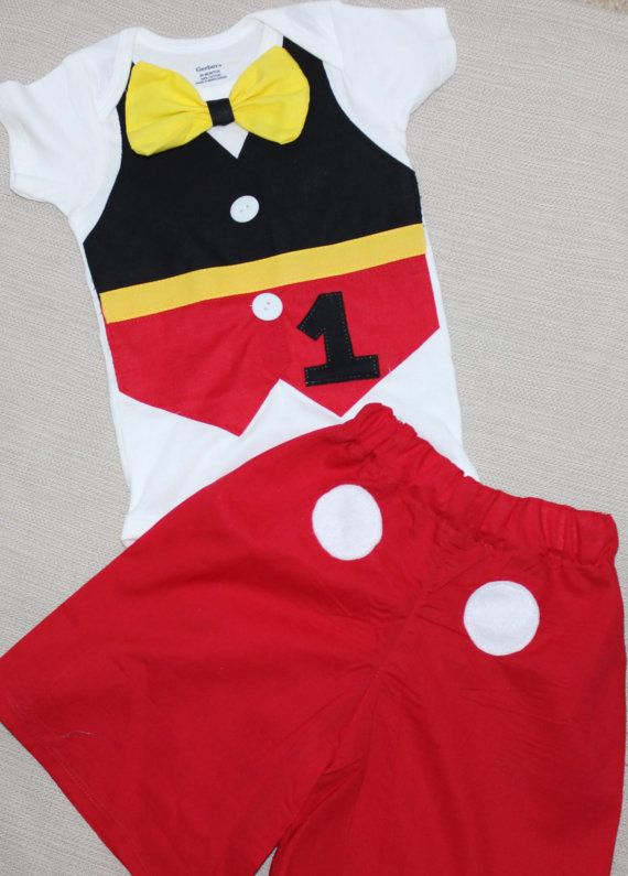 Baby Boy/Toddler mickey Birthday Outfit, Mickey Mouse cake smash, shorts  and vest - Baby Boy/Toddler Mickey Birthday Outfit, Mickey Mouse Cake Smash
