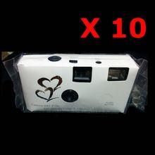 10 x harten wegwerp bruiloft bruids camera met flits en tabel kaart
