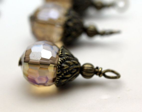 Smokey Topaz Faceted Round Crystal and Brass Bead by bountyofbeads