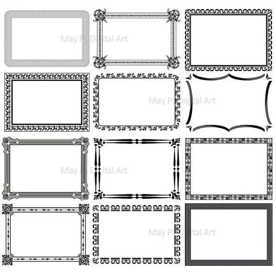 Digital Vintage Frames Clip Art Clipart Ornate Digital Frames Rectangle Printable Decorative Borders Commercial Use Or Pers Art Clipart Clip Art Vintage Frames