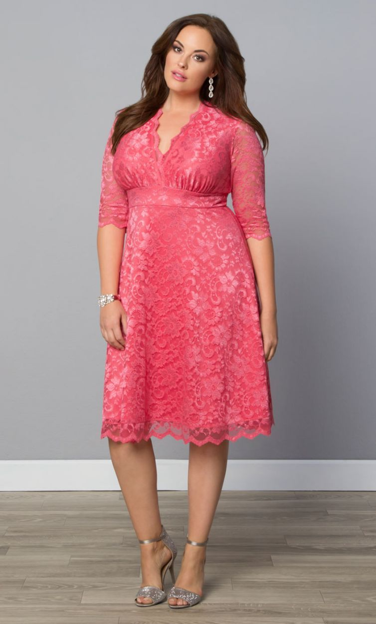 Kiyonna Mademoiselle Lace Dress - Azalea Pink (Plus Size) | Ropa ...