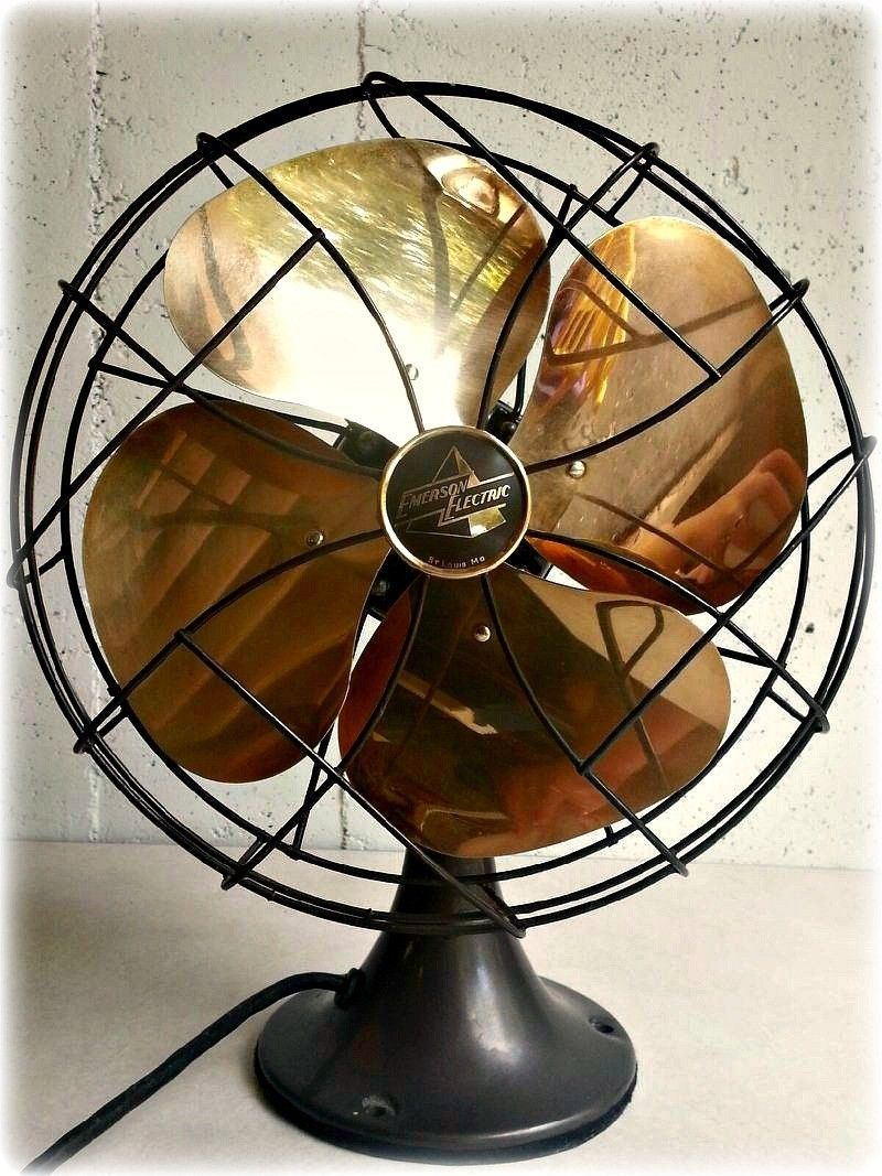 Vintage Art Deco Emerson Electric 6250 K Oscillating 10 Brass Fan Ebay Antique Fans Vintage Fans Vintage Art Deco