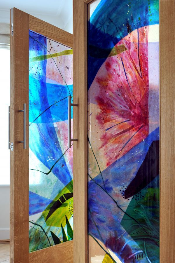 Fused Glass And Oak Sculpture By Sculptor Arabella