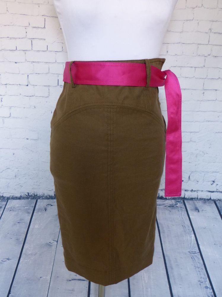Diane Von Furstenberg Olive Green Fuchsia Sash Belt Pencil Skirt ...