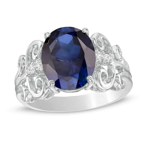 Oval Lab Created Blue Sapphire And 1 20 Ct T W Diamond Vintage Style Scroll Ring In 10k White Gold White Gold Vintage Diamond Blue Sapphire
