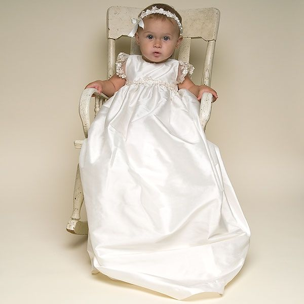 Long White Cottton Christening Gown with bonnet   Baby girl ...