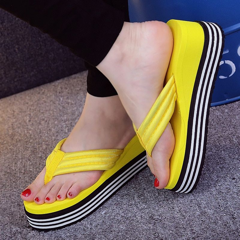 c66c3f0b9ffe 2018 New Summer Women Flip flops Fashion Slope and Thick Sand Beach Slippers  Candy Color Wedges Platform Outdoor Slippers Price   10.48   FREE Shipping  ...