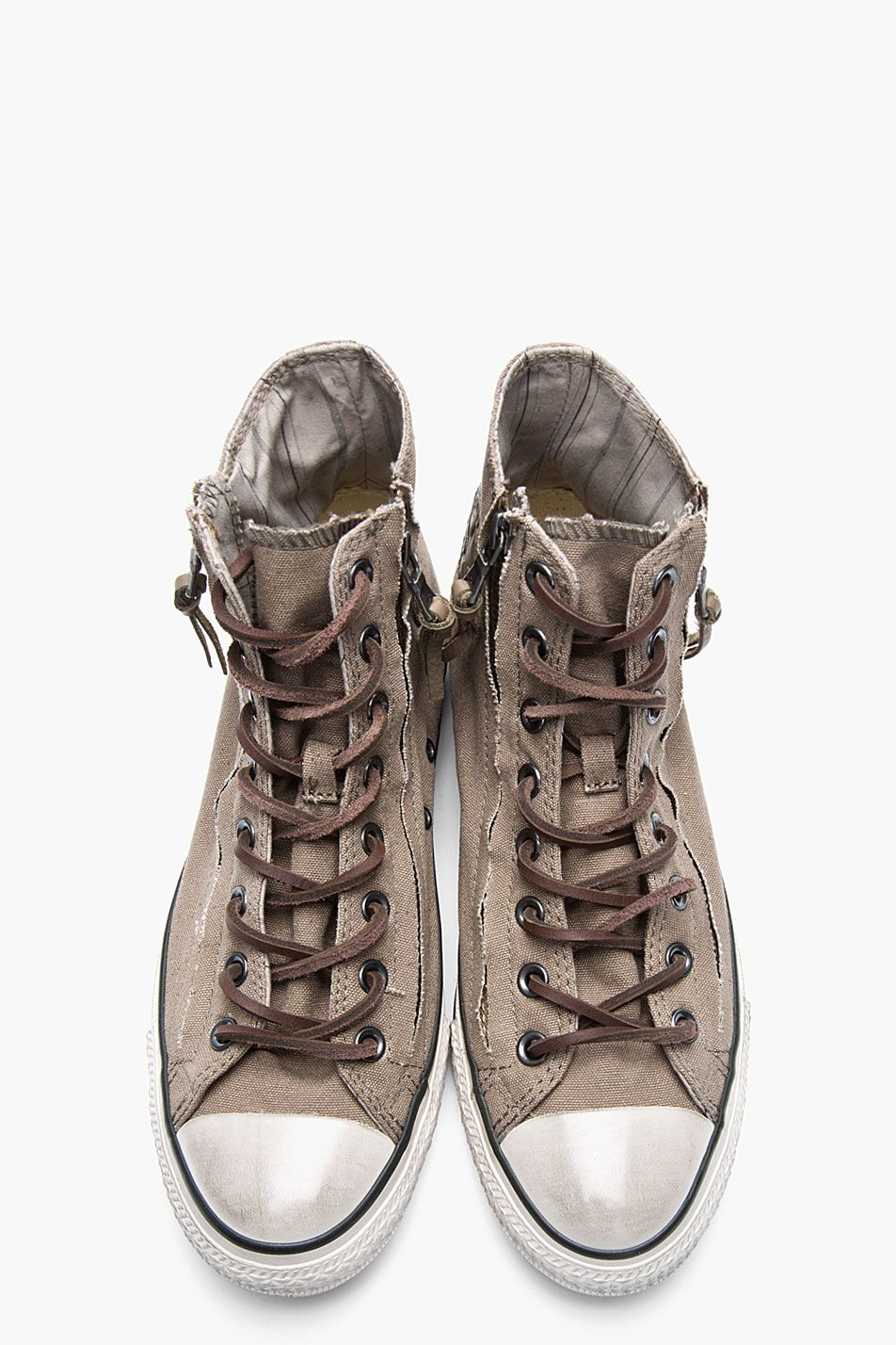 d1b4efce5d8f CONVERSE BY JOHN VARVATOS Dusty brown Chuck Taylor All Star Double Zip Duck  Canvas Hi-tops