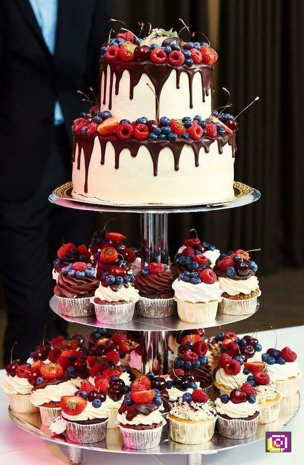 Wedding Drip Strawberry Chocolate Wedding Cake and Cupcakes #Wedding #cakes #weddin …