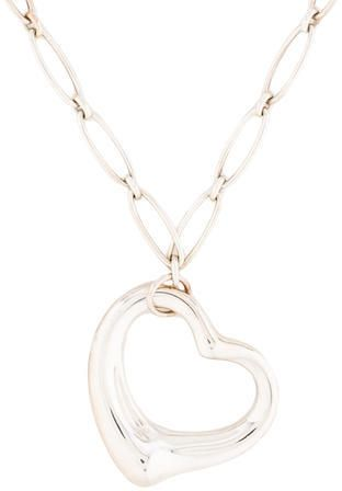 Tiffany co large open heart pendant necklace elsa peretti sterling silver tiffany co necklace featuring elsa peretti open heart pendant with bracelet catch aloadofball Images
