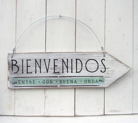 Cartel vintage flecha | BIENVENIDOS ENTRE CON BUENA ONDA