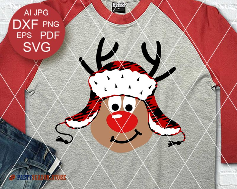 Reindeer with Red Nose svg Buffalo Plaid Rudolph SVG