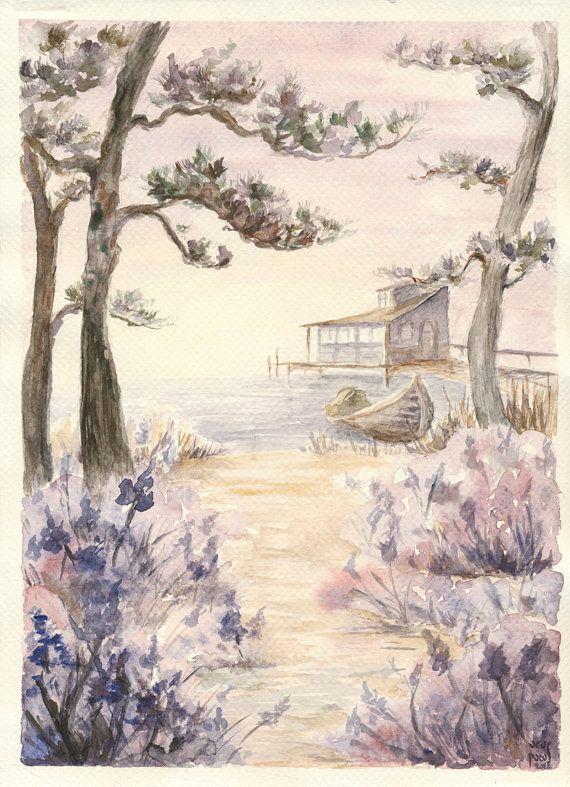 Items Similar To Misty Romantic Japanese Landscape Art Print Pine Trees Sunrise Lake Lavender Vanilla On Etsy