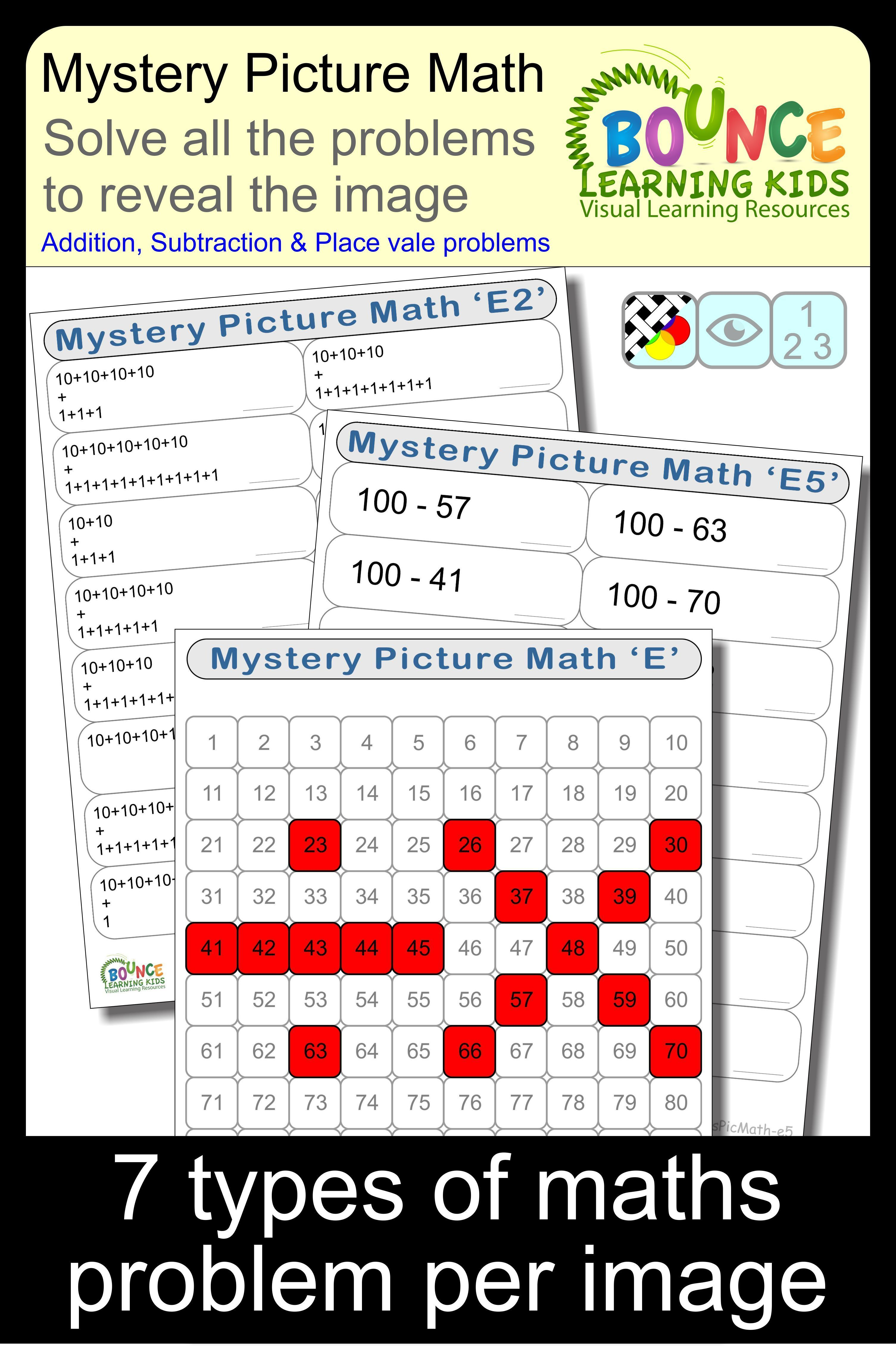 Mystery Picture Math E Solve The Math Problems To Reveal