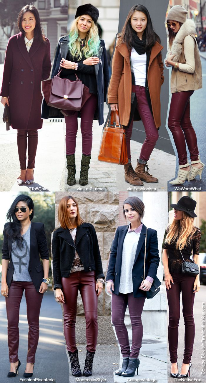 e80b28ca5aa Blue is in Fashion this Year  How To Wear  Burgundy Coated Jeans