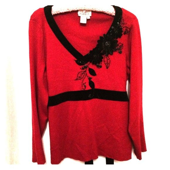 SOLD! Adrianna Papell red embellished sweater NWOT | Adrianna ...