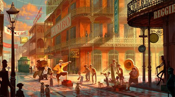 The Princess and the Frog (2009) Production Design Concept Art by Armand Baltazar