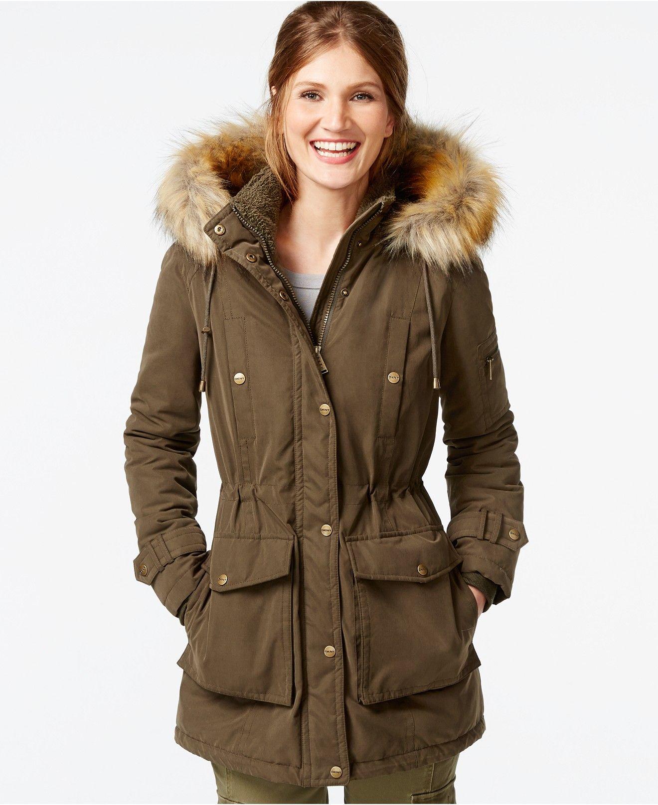 17e6e1ce78703 DKNY Faux-Fur-Trim Hooded Parka - Coats - Women - Macy s