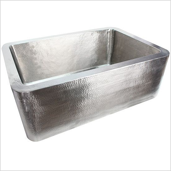 Linkasink Farmhouse Sinks   Linkasink C020 SS Hammered Stainless Steel Sink    3.5 Drain