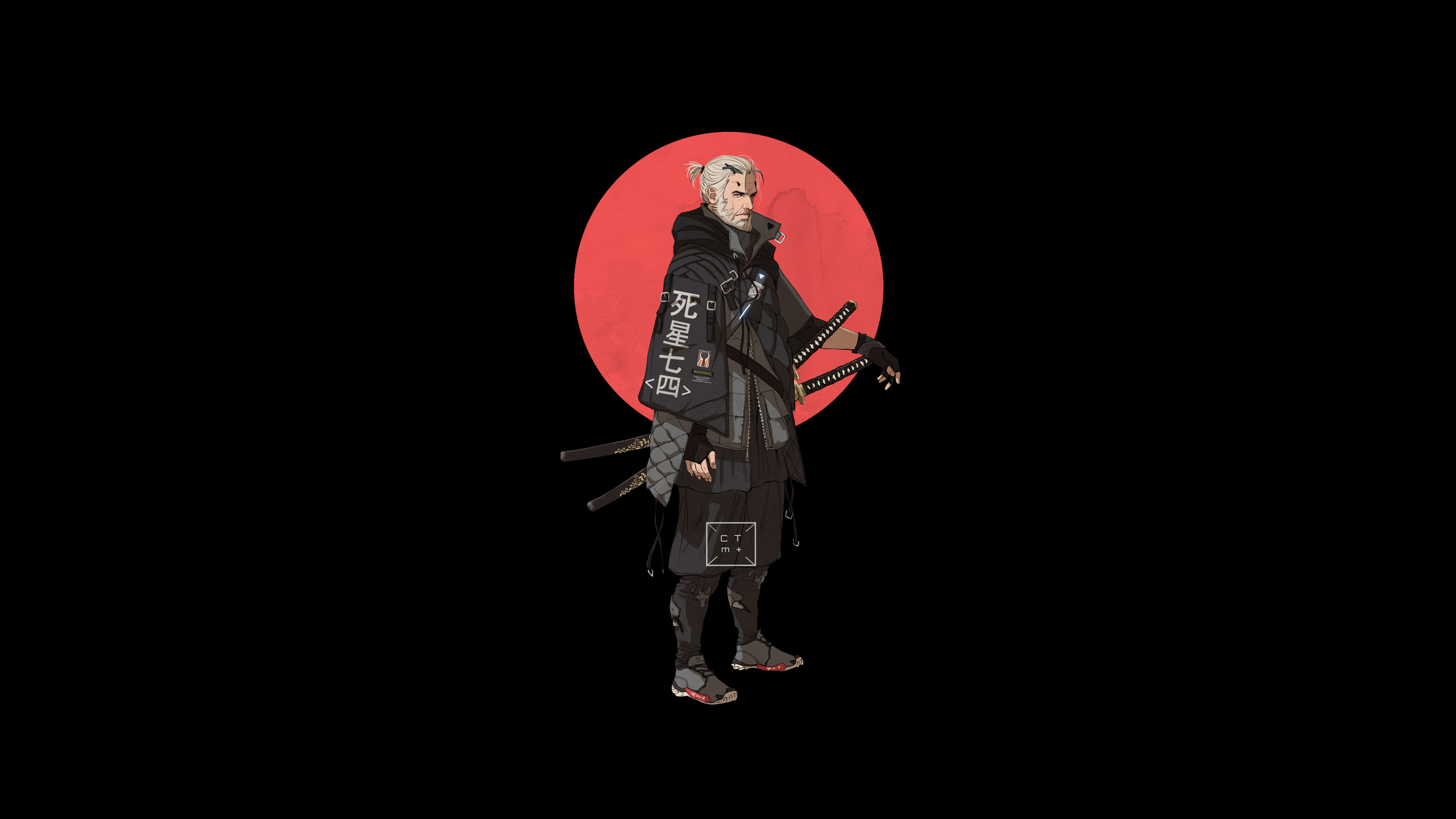 Geralt wallpaper Japanese characters, Wallpaper, The witcher