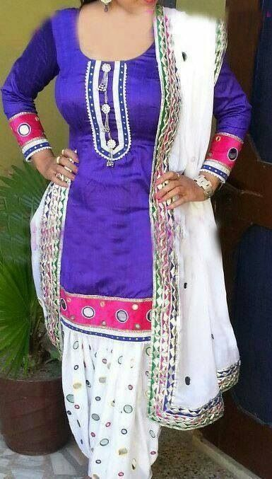Neeru Bajwa In Punjabi Suits White/purple lacy punj...