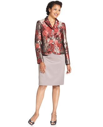 Kasper Suit Metallic Floral Print Jacket Solid Pencil Skirt