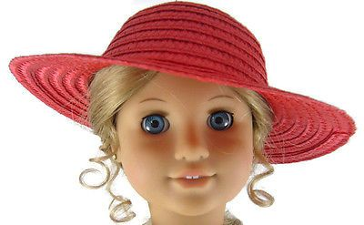 Red-Straw-Sun-Hat-Bonnet-for-18-American-Girl-Doll-Clothes-Accessories