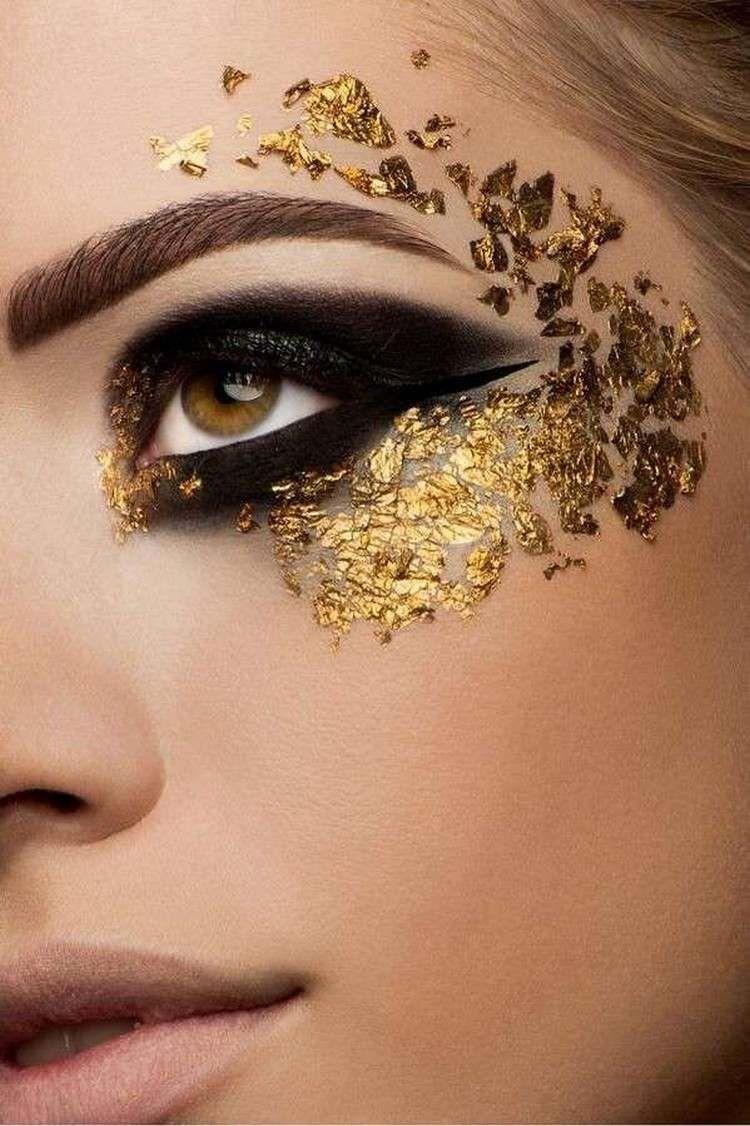 fasching make up mit goldenen partikeln hair style peinados make up maquillajes. Black Bedroom Furniture Sets. Home Design Ideas