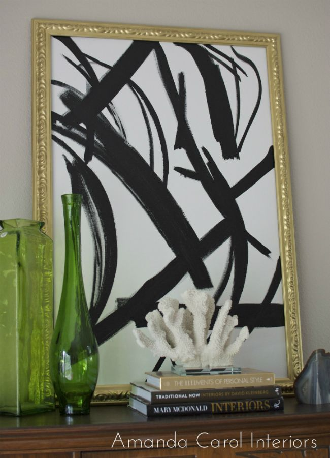 Black white abstract art diy