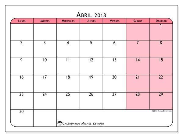 Calendario abril 2018 (64LD) | Calendario para imprimir gratis ...