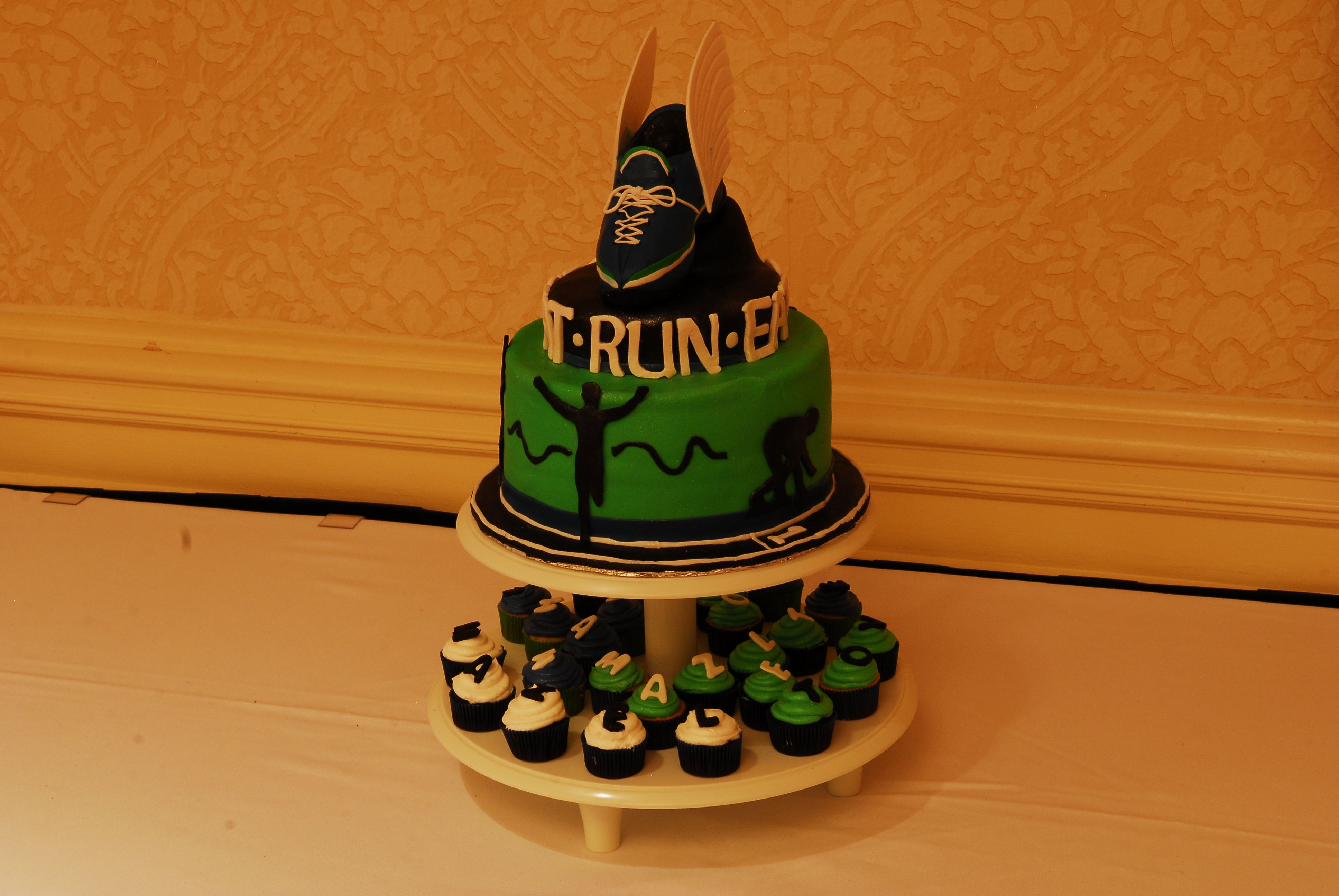 Running Shoe Cake With Wings And Track Ethans Bar Mitzvah