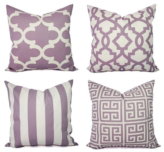 Soft Purple And Beige Pillow Cover One Throw By CastawayCoveDecor - Purple decorative bedroom pillows