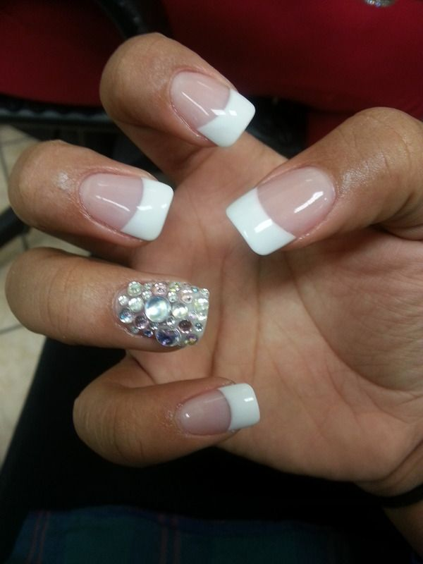 Rhinestone accent nail, black tips instead of white.   PROM ...