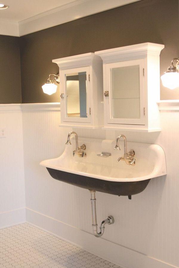 small bathroom sink ideas double trough sink medicine cabinets rh pinterest com commercial trough sinks for bathrooms single trough sink for bathroom