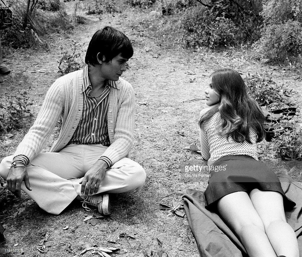 Italian actress Ornella Muti with her boyfriend Alessio Orano, 1972, Madrid, Spain.